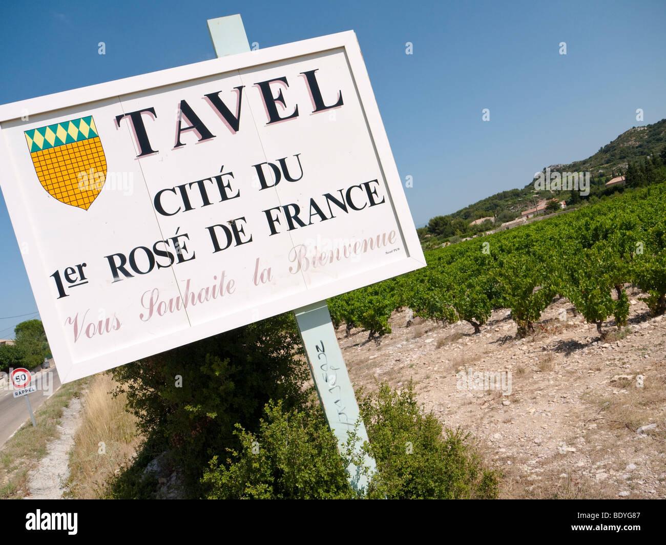 Un cartello oltre ad una vigna annuncia i rinomati vini rosati di Tavel. Immagini Stock