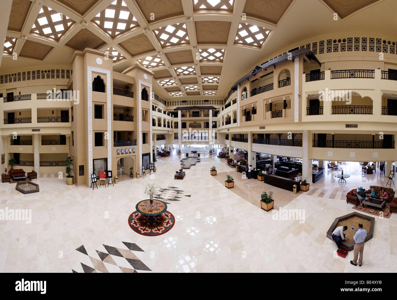 Vista panoramica, lobby del Steigenberger Al Dau Beach Resort, Hurhada, Egitto, Mare Rosso, Africa Immagini Stock