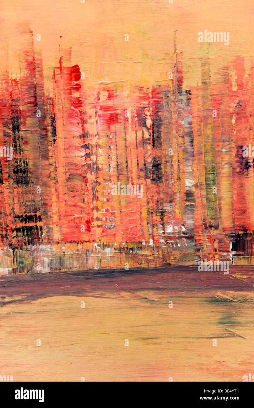 Skyline di Manhattan, New York, pittura acrilica, artista Gerhard Kraus, Kriftel, Germania Immagini Stock