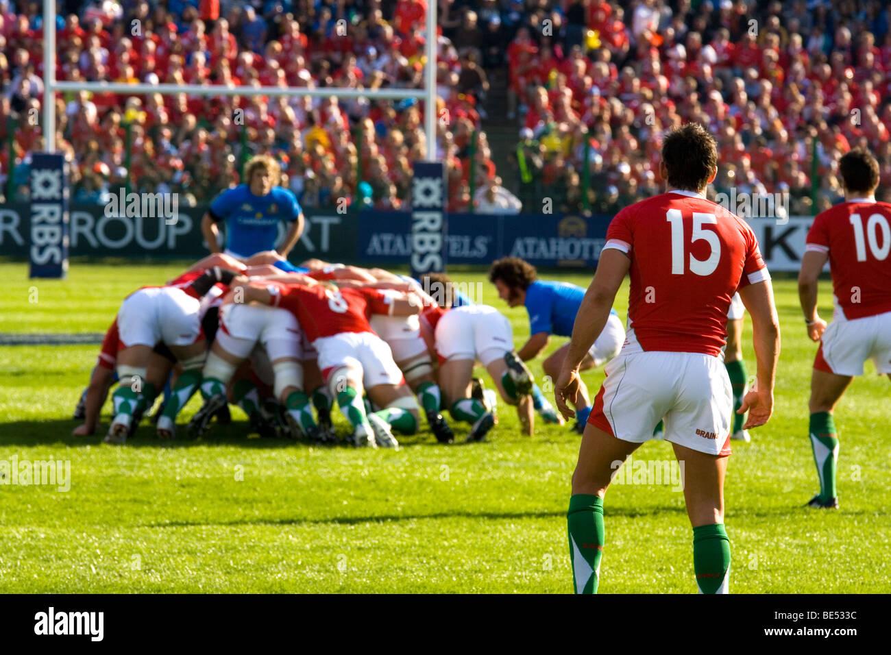 Rugby sei nazioni - Italia vs Galles Immagini Stock
