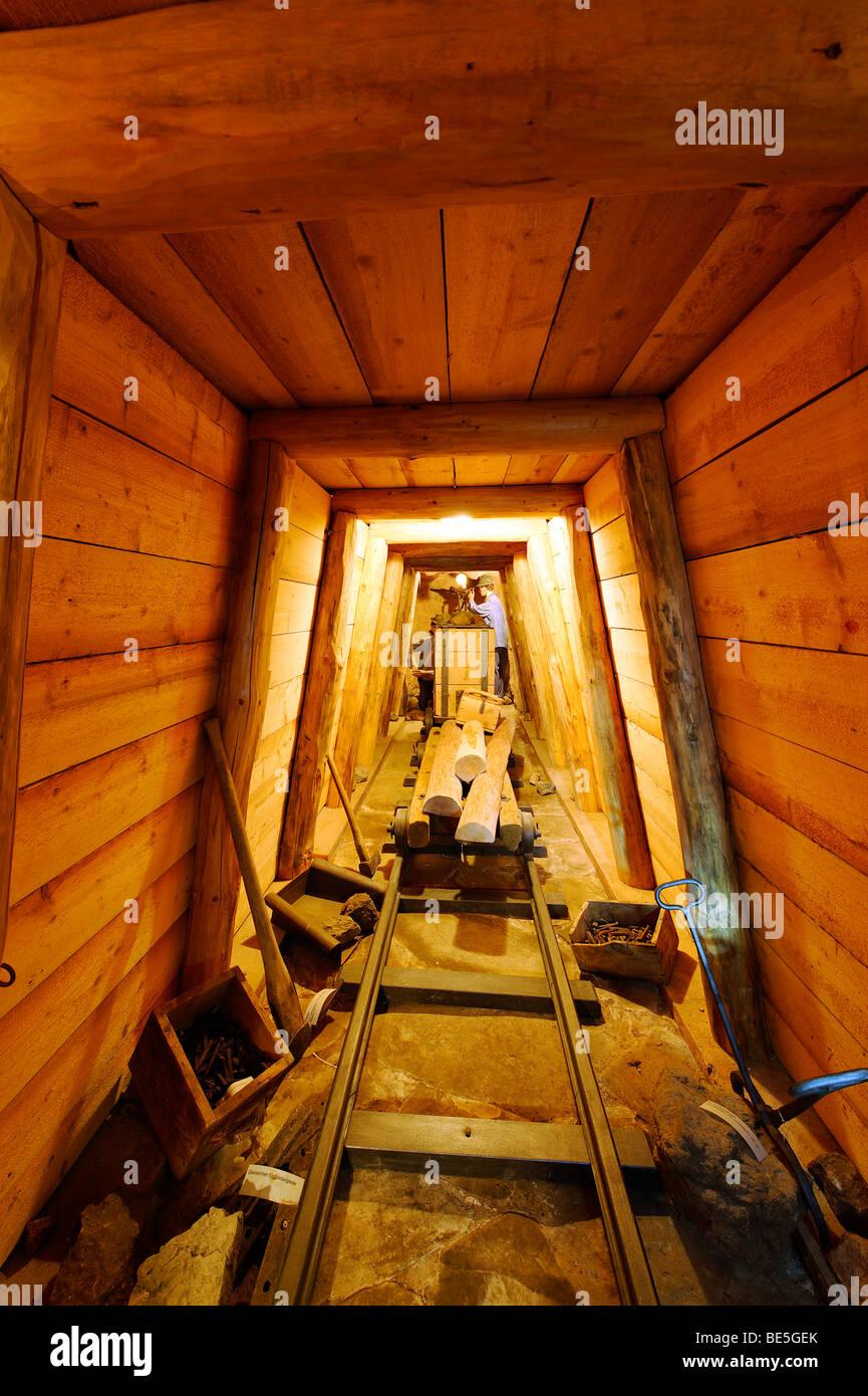 Galleria per industria mineraria, museo minerario Achtal vicino Teisendorf, Alta Baviera, Germania, Europa Immagini Stock