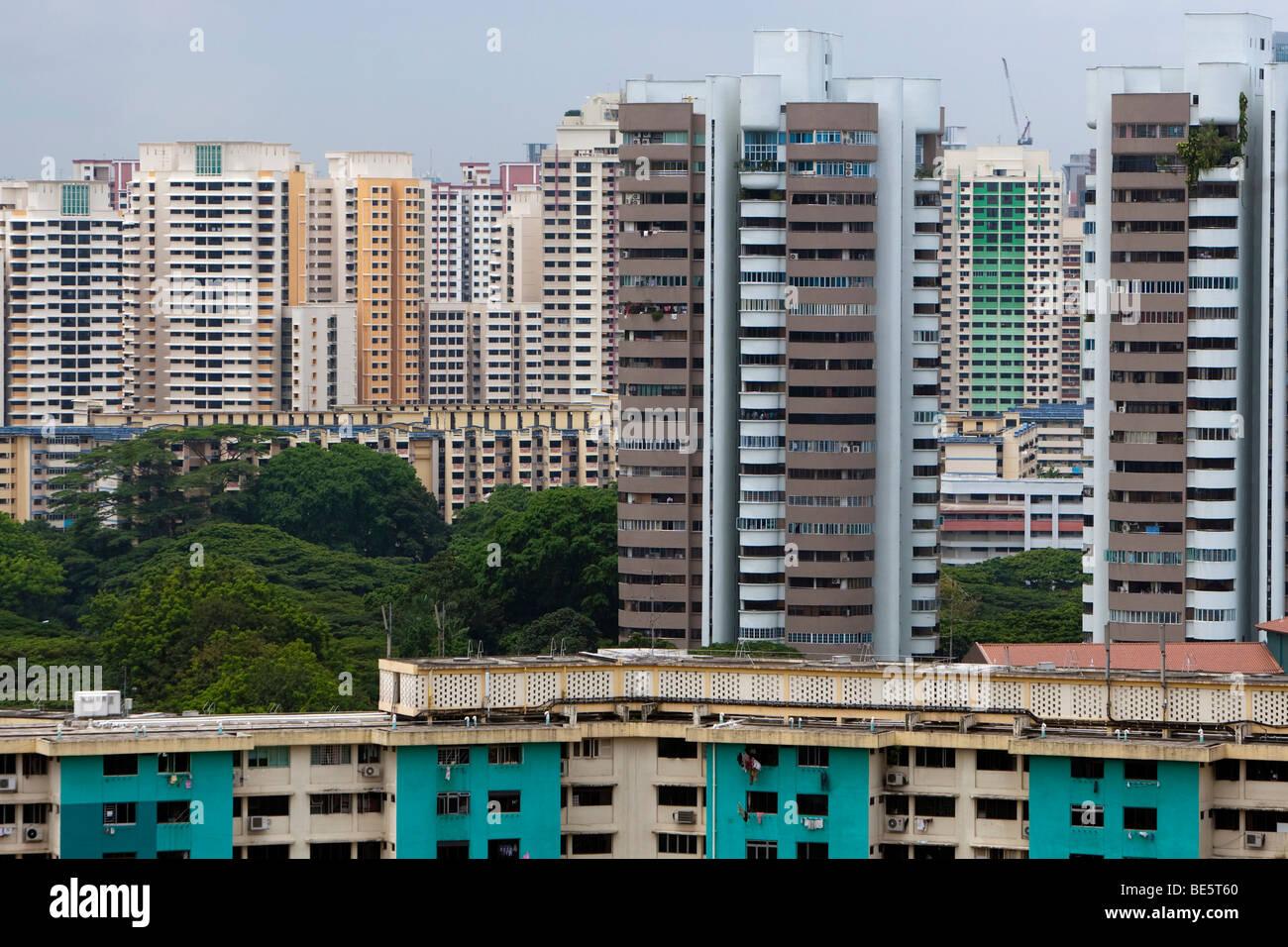 Lo skyline di Singapore, edifici a più piani con appartamenti economici, Singapore, Asia Immagini Stock