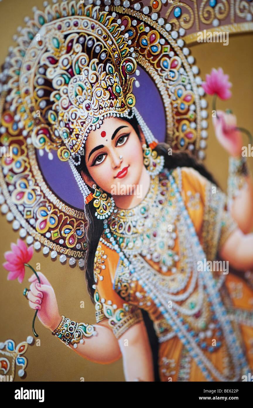 Dea indù Lakshmi raffigurato su un Indiano poster. India Immagini Stock