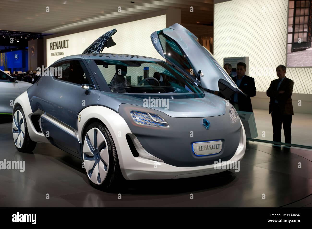 Il futuristico Renault Zoe ZE concept car elettrica al Salone di Francoforte 2009 Immagini Stock