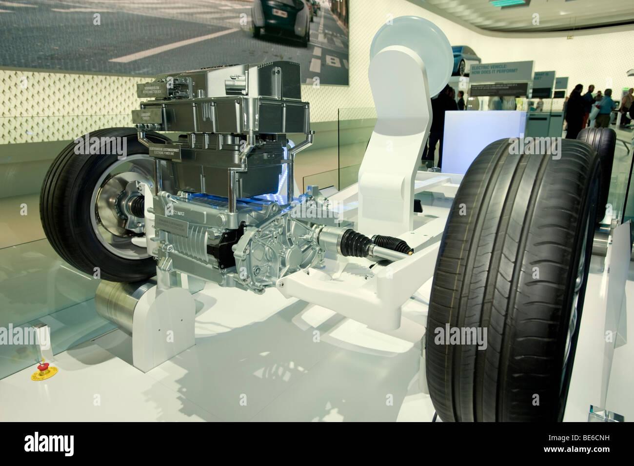 Modello dimostrativo del nuovo motore elettrico e chassis progettato da Renault al Salone di Francoforte 2009 Immagini Stock