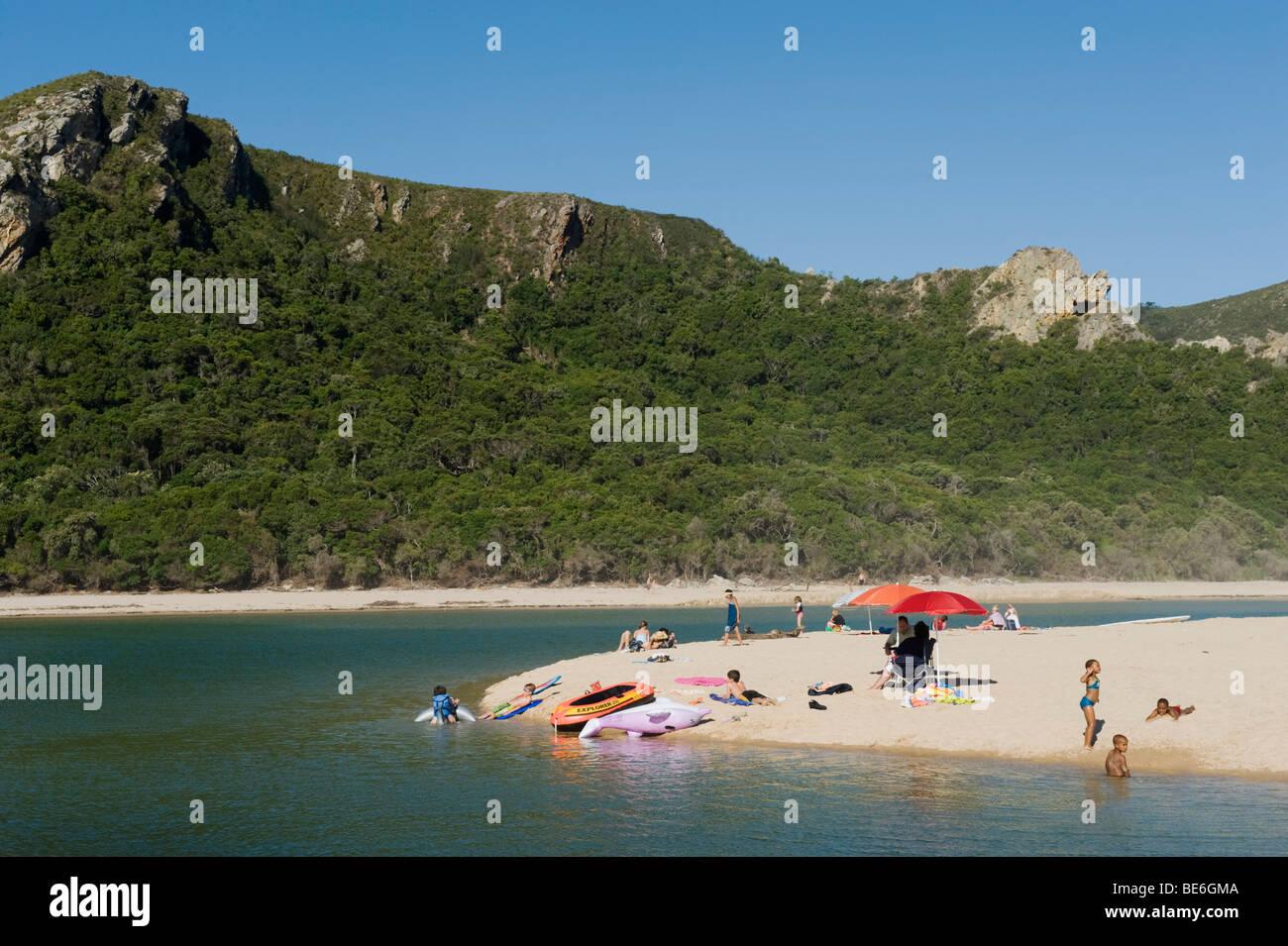 Spiaggia, la natura della valle, Garden Route, Sud Africa Immagini Stock