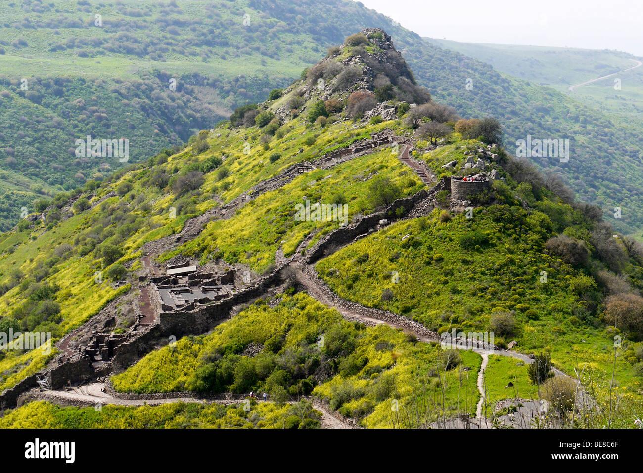 Israele, Golan, le rovine della città di Gamla Immagini Stock