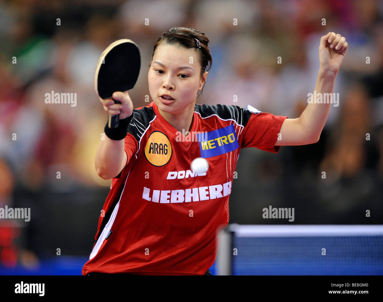 Campione Europeo Jiaduo WU, Germania, ping pong EM 2009, Porsche-Arena, Stoccarda, Baden-Wuerttemberg, Germania, Immagini Stock