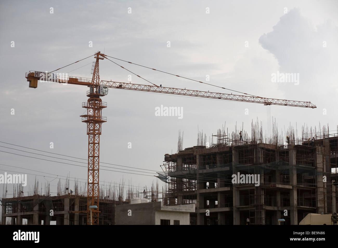 Un nuovo sito in costruzione in Gurgaon, India Immagini Stock