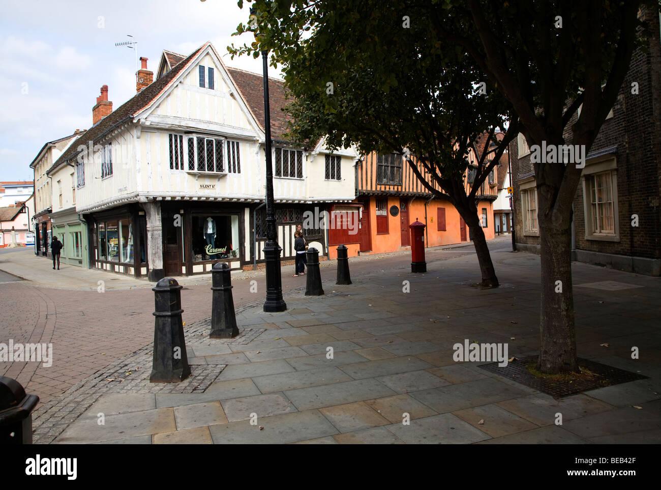 Edifici in stile Tudor, Silent Street, Ipswich, Immagini Stock