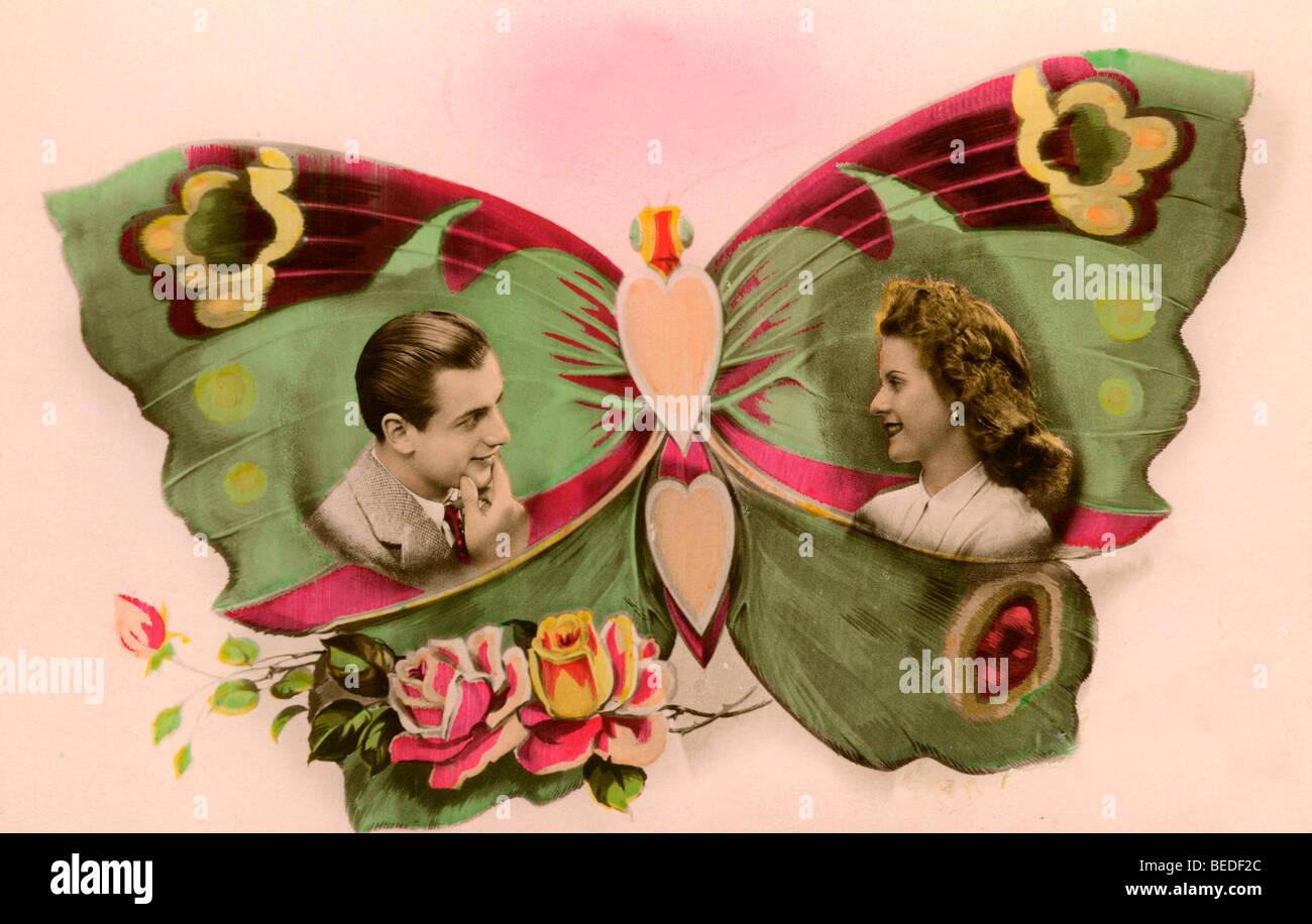 Fotografia storica, flirt, intorno al 1940 Immagini Stock