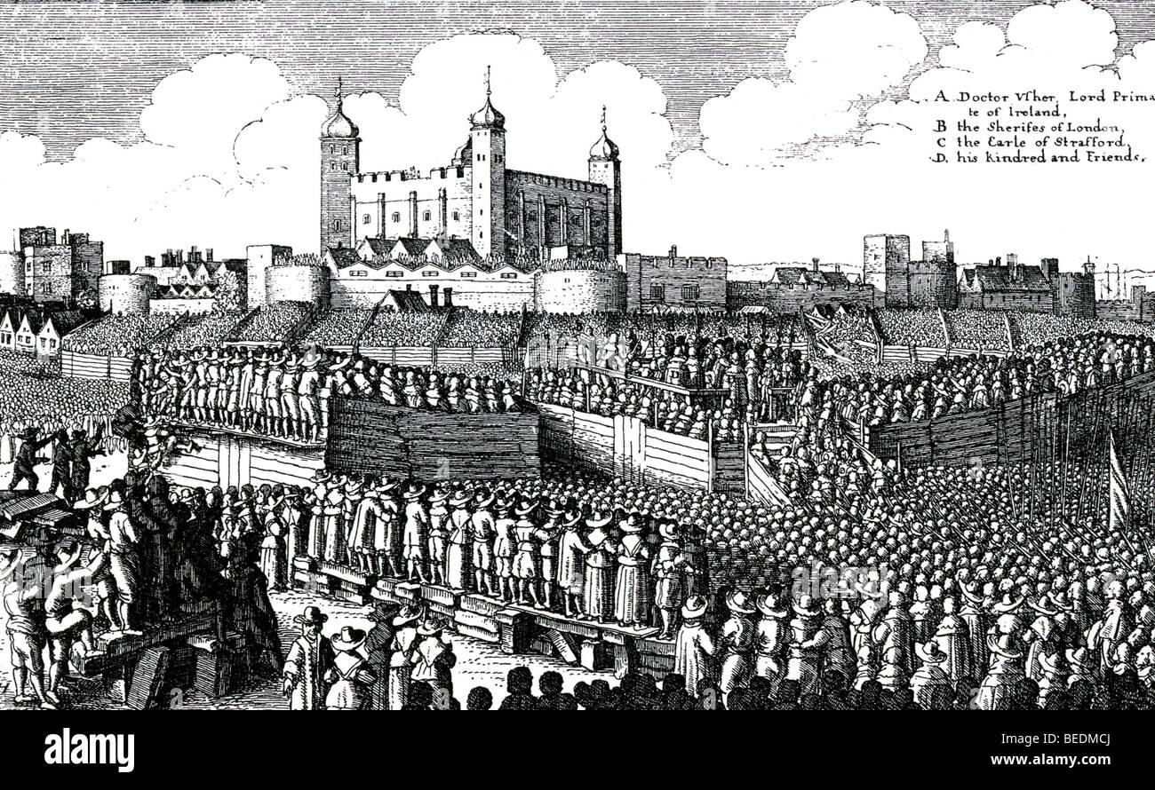 Esecuzione di THOMAS WENTWORTH, Conte di Strafford, nel 1641 Immagini Stock
