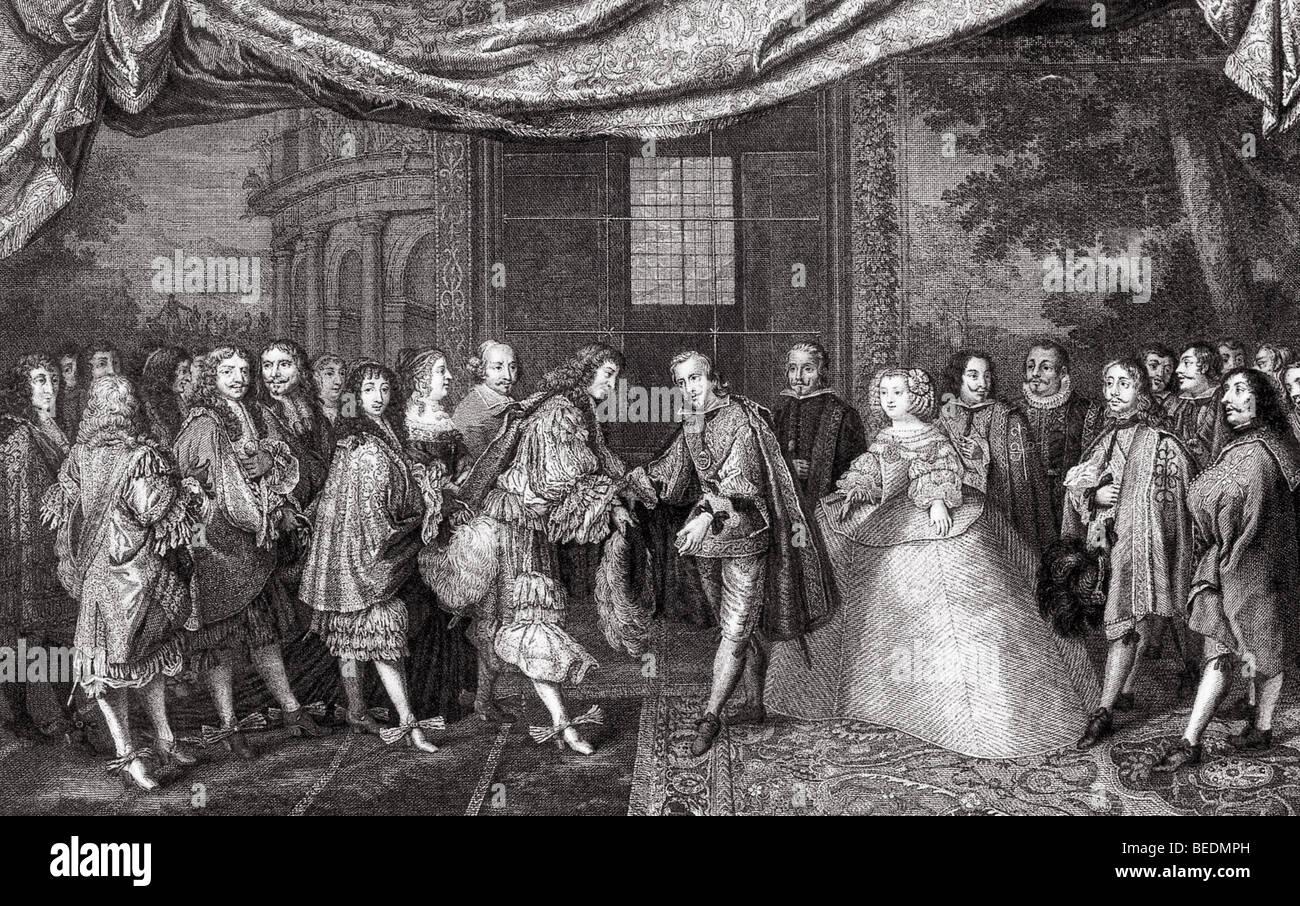 La pace dei pirenei 1659 - Luigi XIV di Francia (centro sinistra) incontra Filippo IV di Spagna a ratificare il Immagini Stock