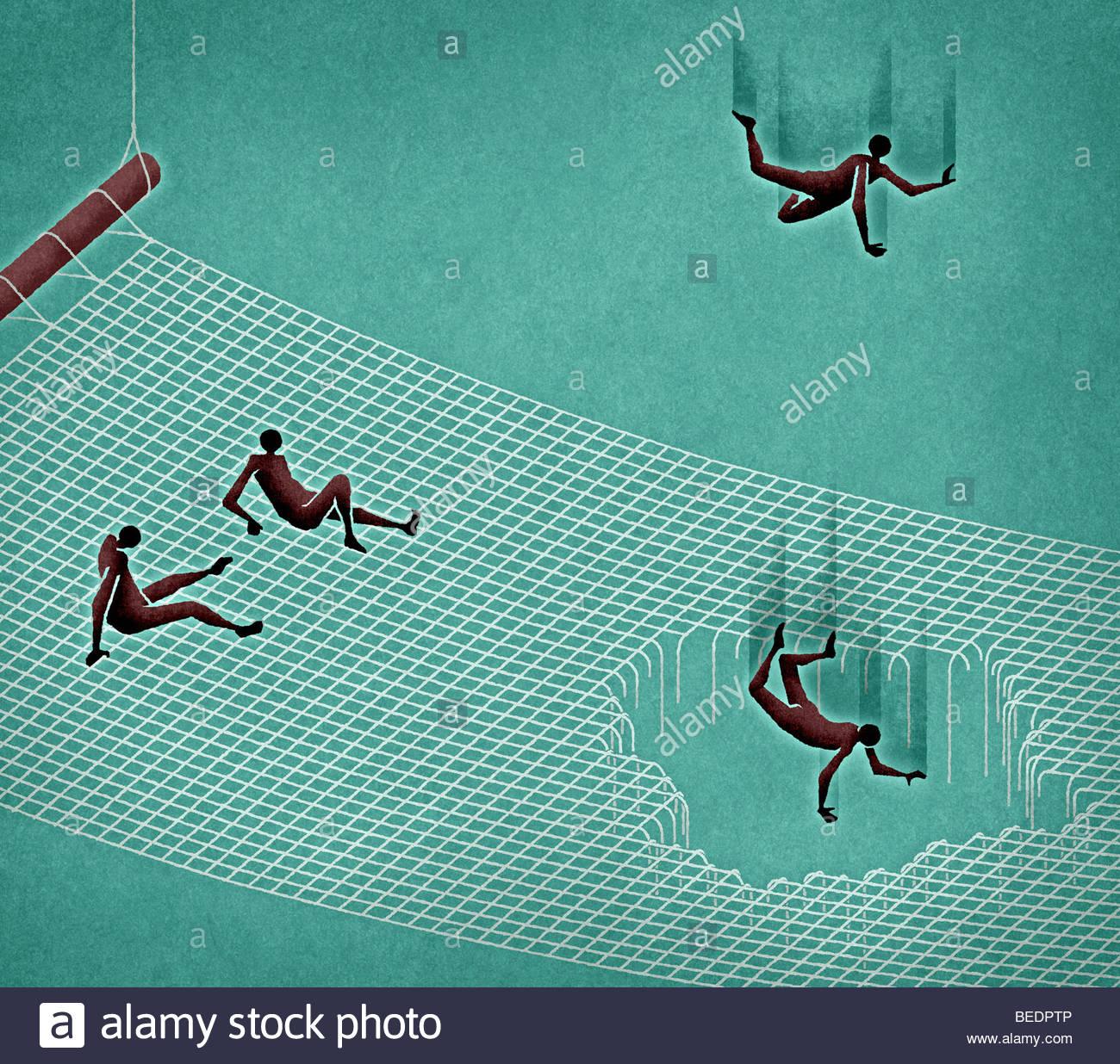 La gente a cadere attraverso il foro nella rete di sicurezza Immagini Stock