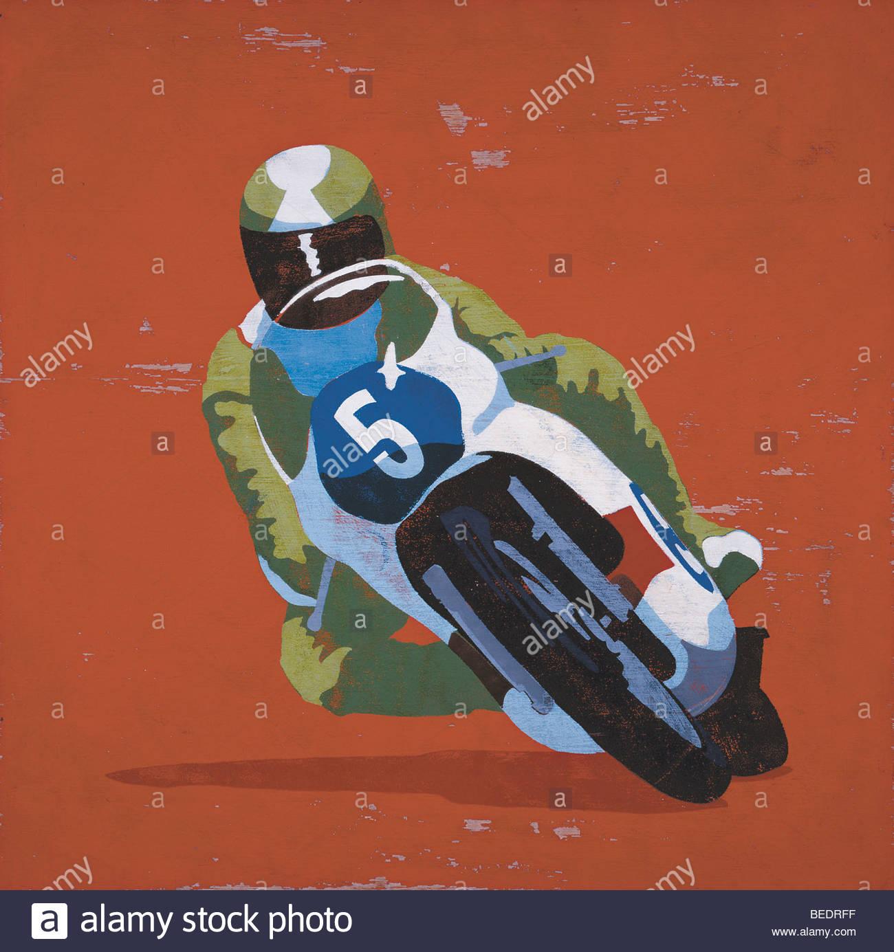 Professional rider su moto racing Immagini Stock