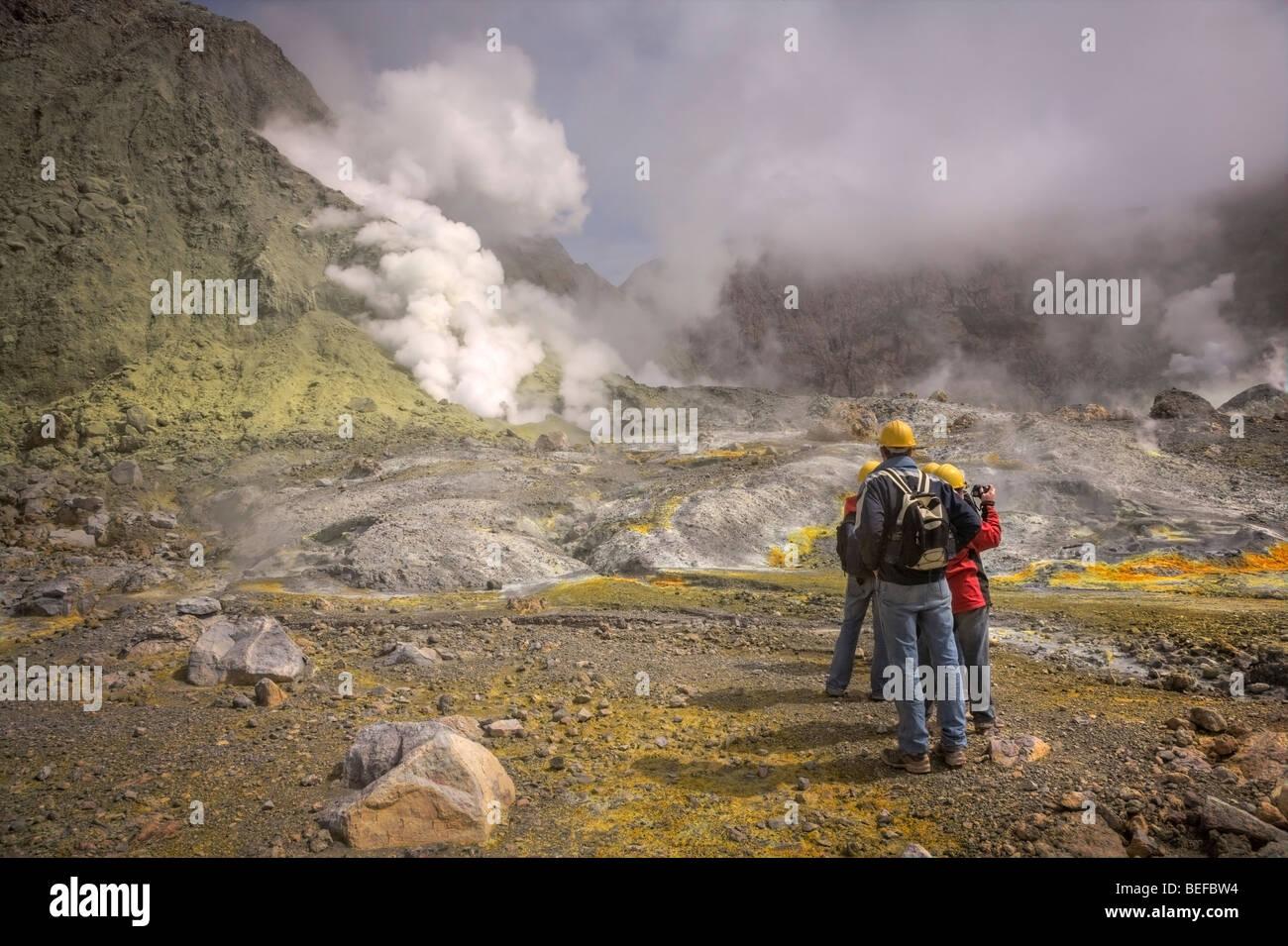 I turisti sull isola Bianca, Baia di Planty, Nuova Zelanda Immagini Stock