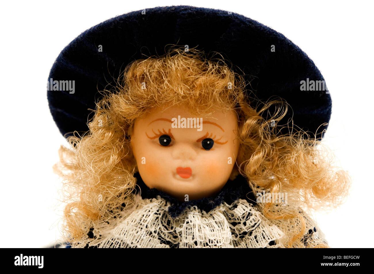 Ritratto di una vecchia Bambola porcellana Immagini Stock