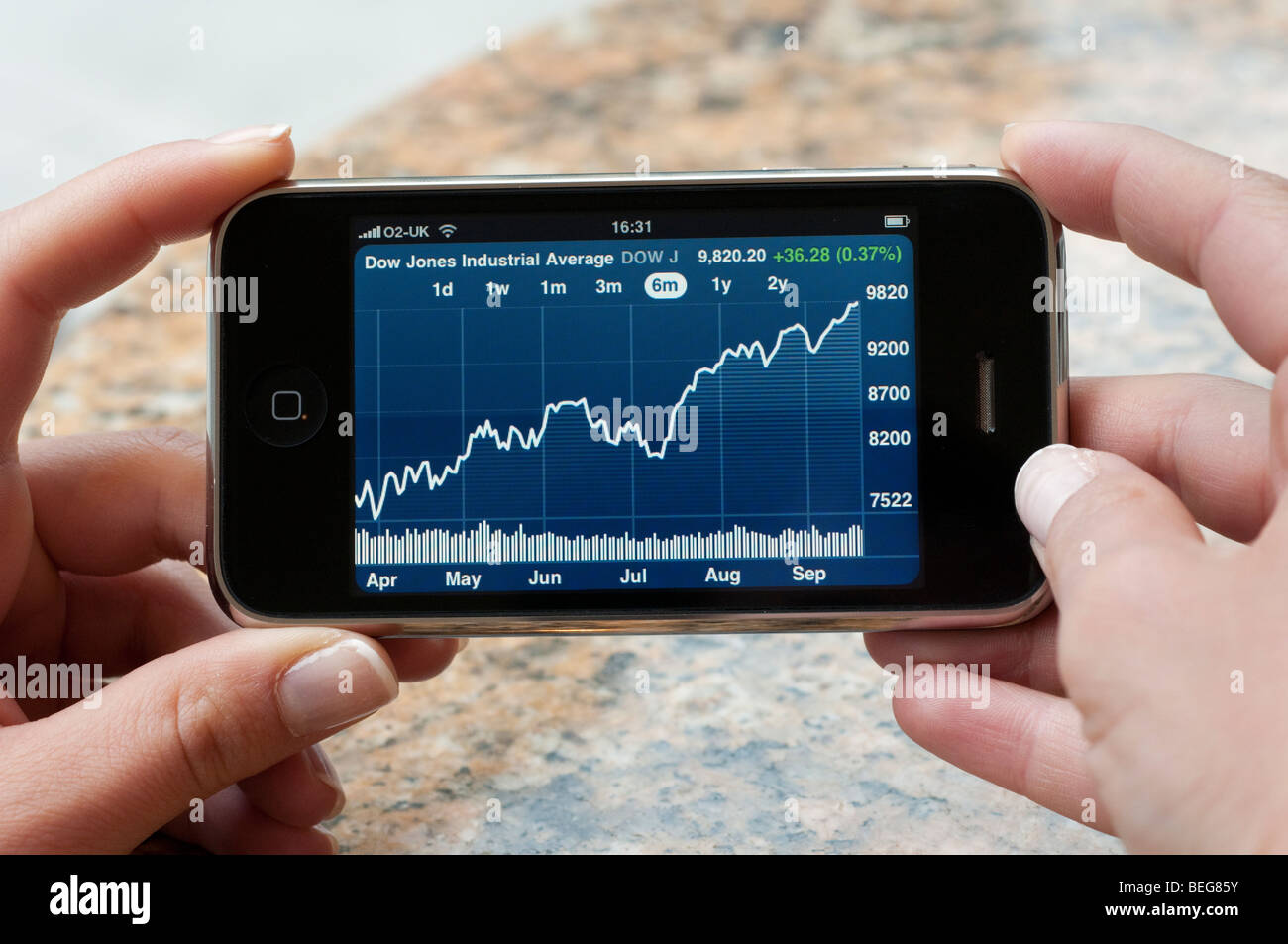 Dow Jones Industrial Average condividono gli aumenti di prezzo su Apple iPhone Immagini Stock