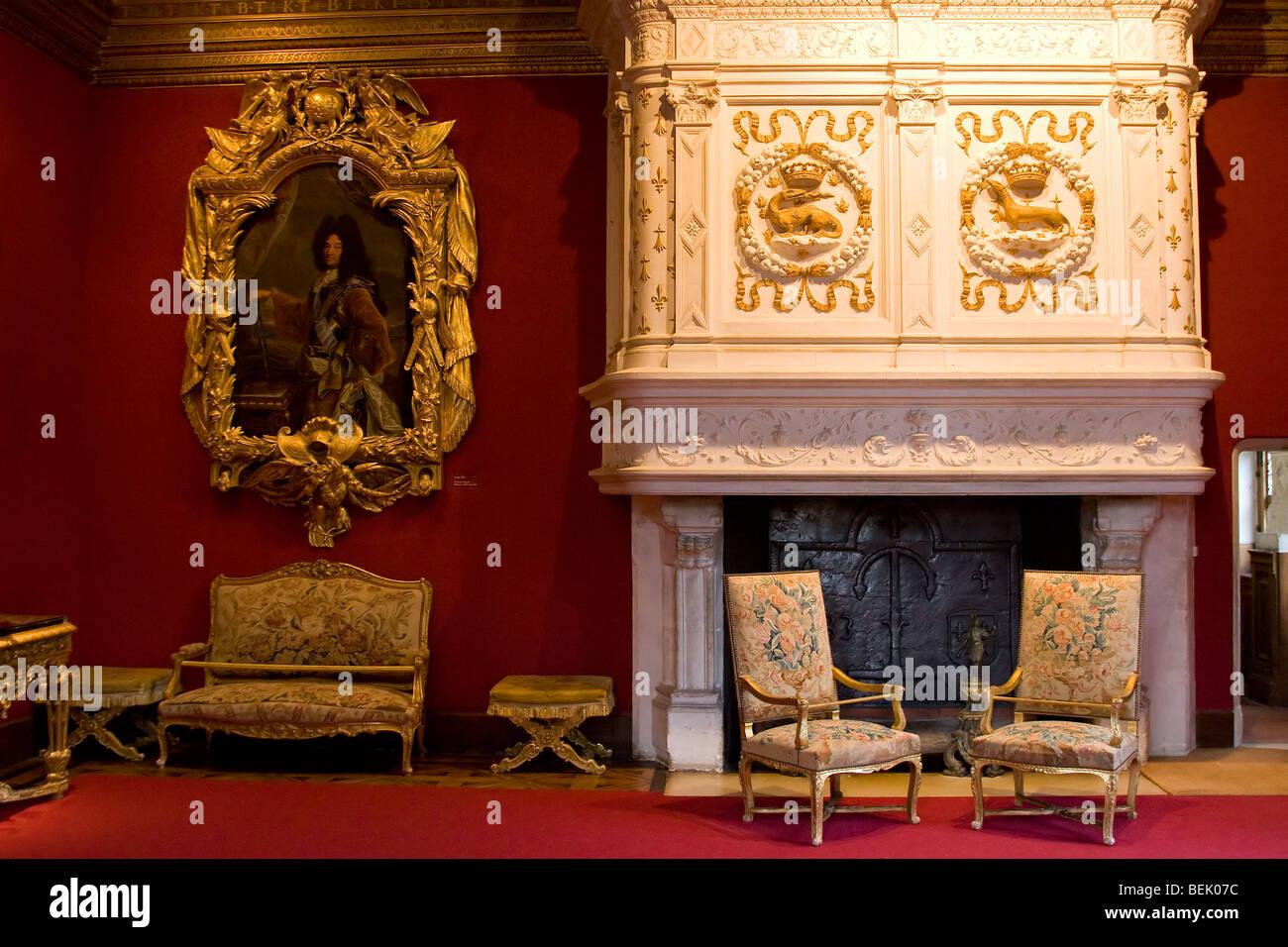 Interno del Castello di Chenonceaux, Francia Foto stock - Alamy