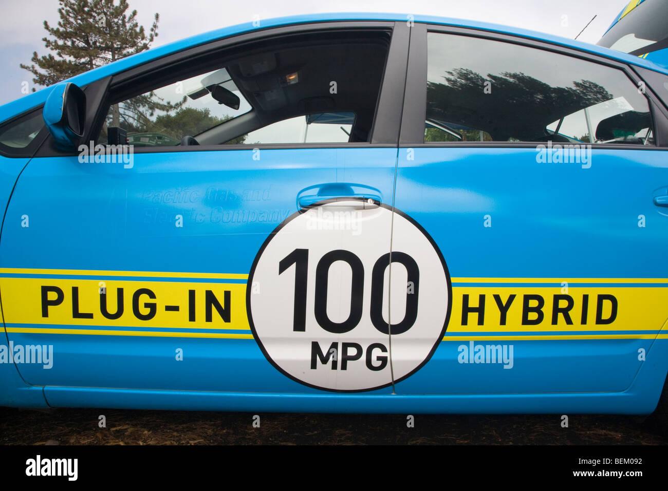 La Toyota Prius Plug-in hybrid auto dimostrazione da PG&E, Palo Alto, California, Stati Uniti d'America Immagini Stock