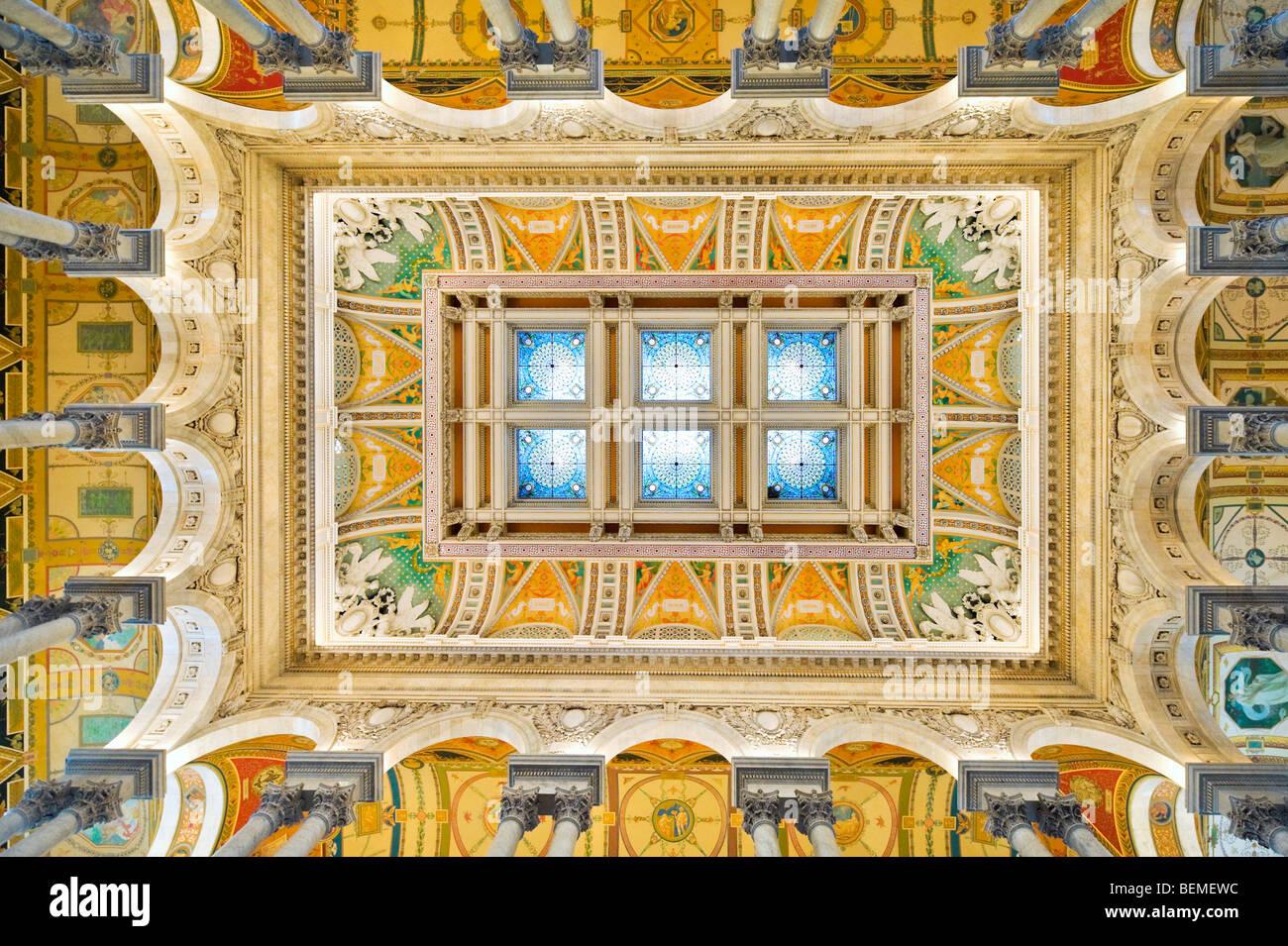 Il soffitto della Sala Grande del Thomas Jefferson Building, la Biblioteca del Congresso a Washington DC, Stati Immagini Stock