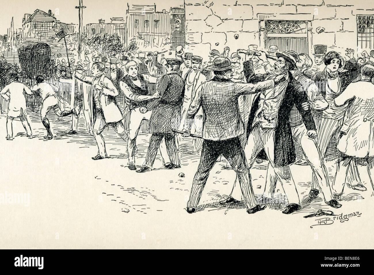 Questa 1888 illustrazione mostra le persone in Syracuse, New York, nel 1852, il salvataggio di un runaway slave Immagini Stock
