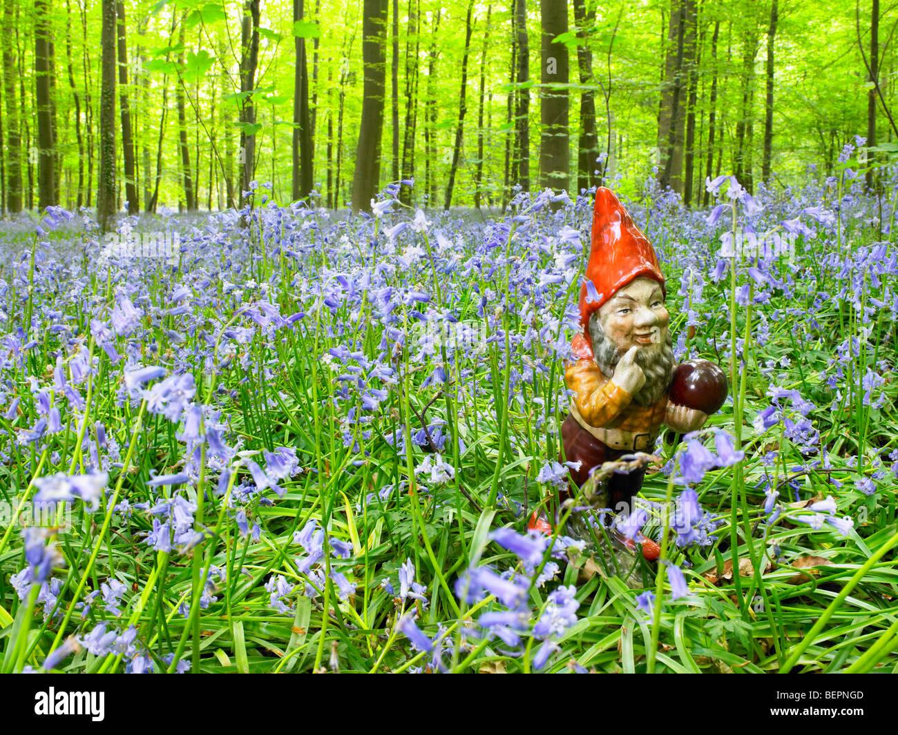 Gnomo da giardino nel bosco Immagini Stock
