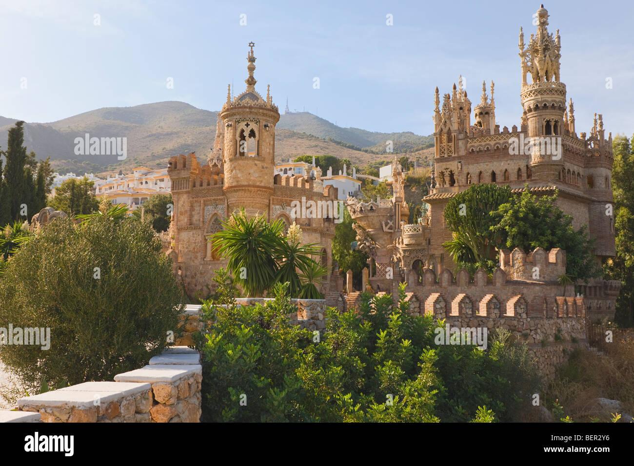 Castillo Monumento Colomares. Il Castello di Colomares a Benalmadena-Pueblo, provincia di Malaga, Costa del Sol, Foto Stock