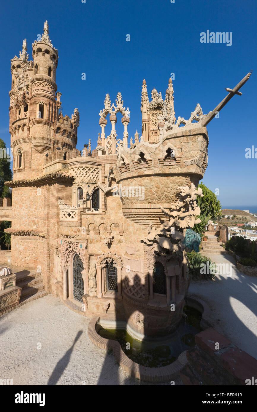 Castillo Monumento Colomares. Il Castello di Colomares a Benalmadena-Pueblo, provincia di Malaga, Costa del Sol, Immagini Stock
