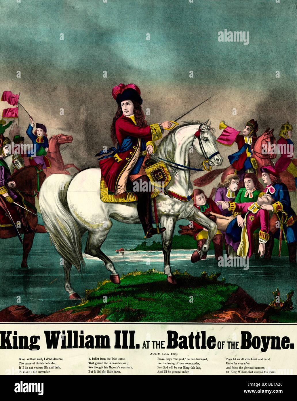Re Guglielmo III presso il Centro Visitatori della Battaglia del Boyne, 1 Luglio 1690 Foto Stock