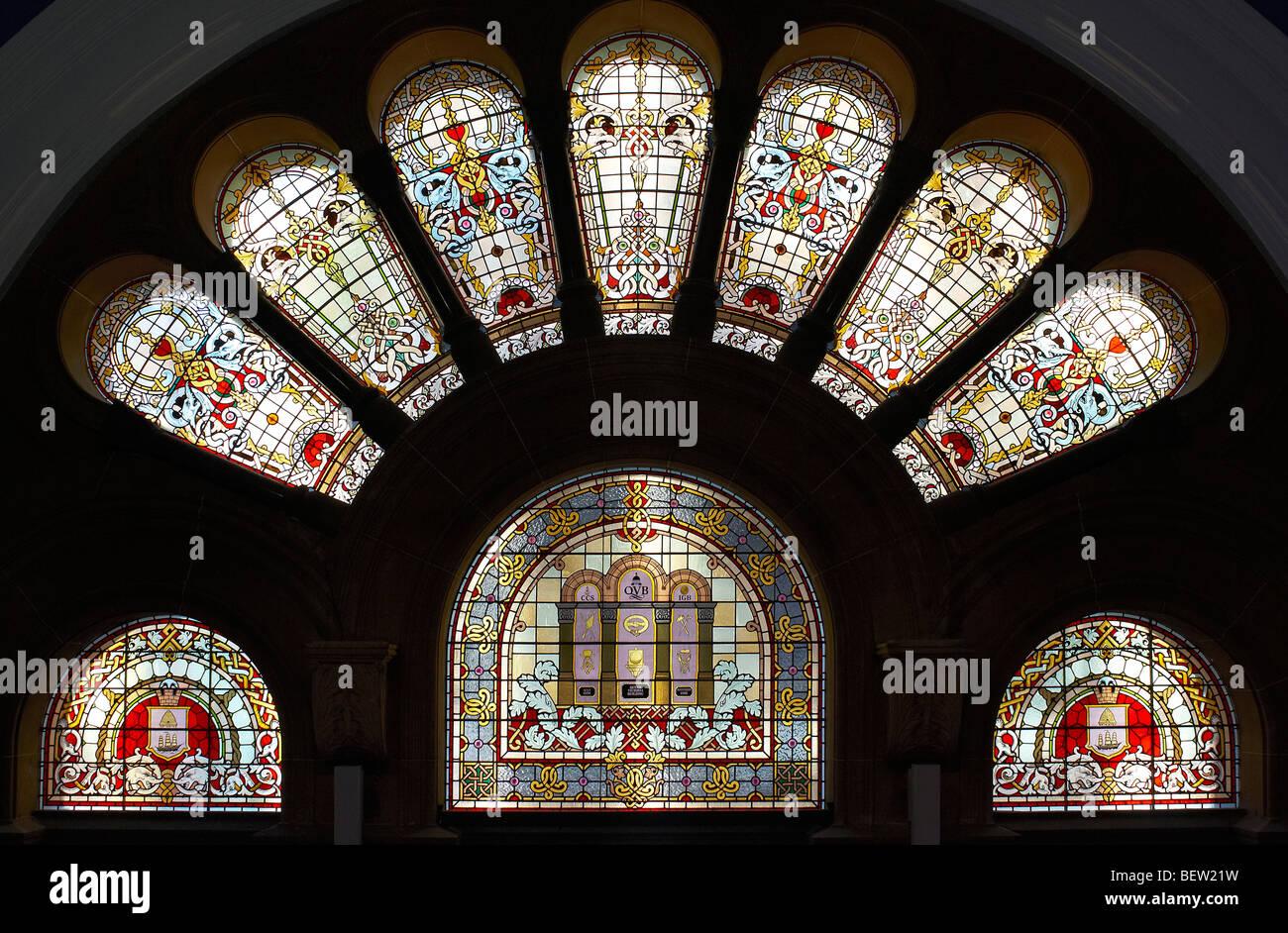 Le finestre di vetro macchiate in Queen Victoria Building Sydney Australia Immagini Stock