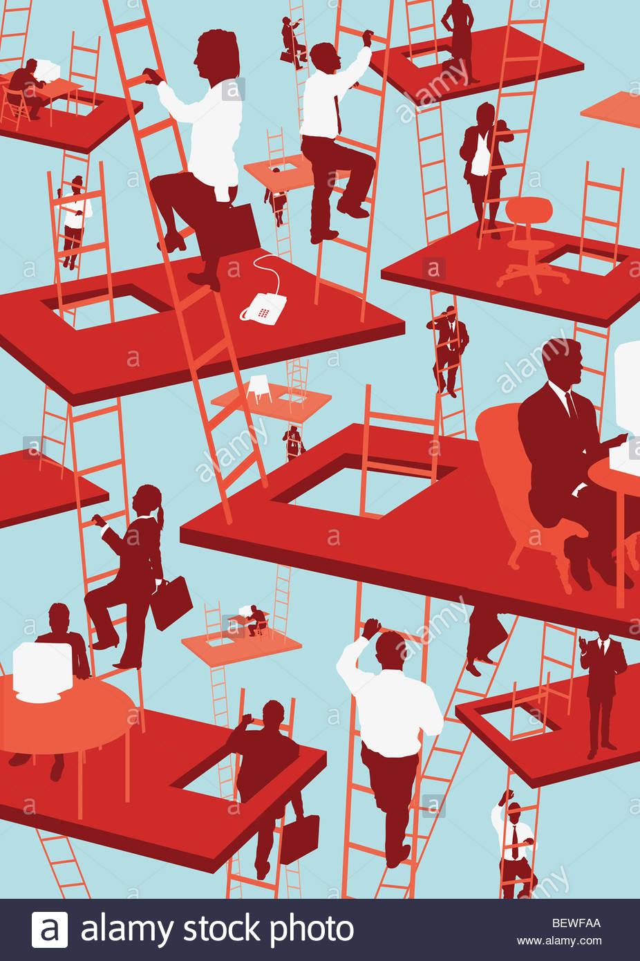 Gli imprenditori che lavorano in uffici flottante Immagini Stock