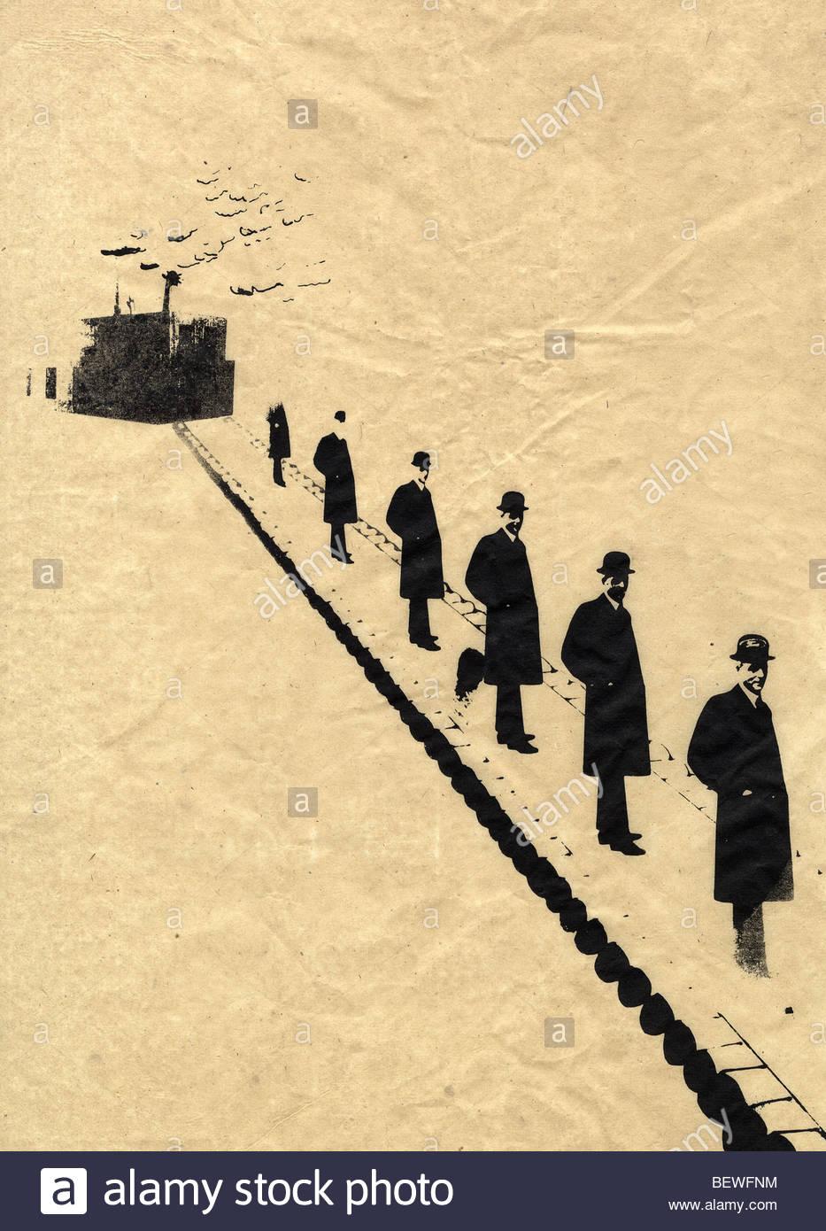 Imprenditori in fila sul nastro trasportatore Immagini Stock