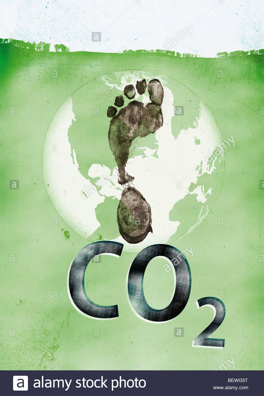 Impronta di carbonio sul globo terrestre Immagini Stock