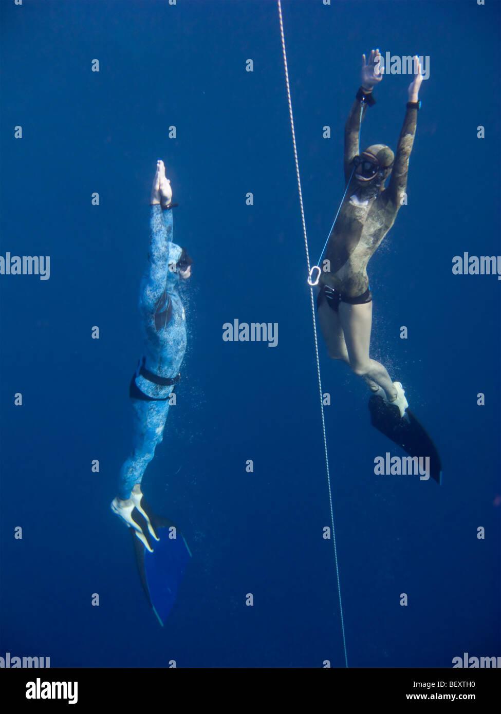 Due apneisti sorgere dalla profondità vicino alla linea di sicurezza nel buco blu, Dahab, Egitto Immagini Stock