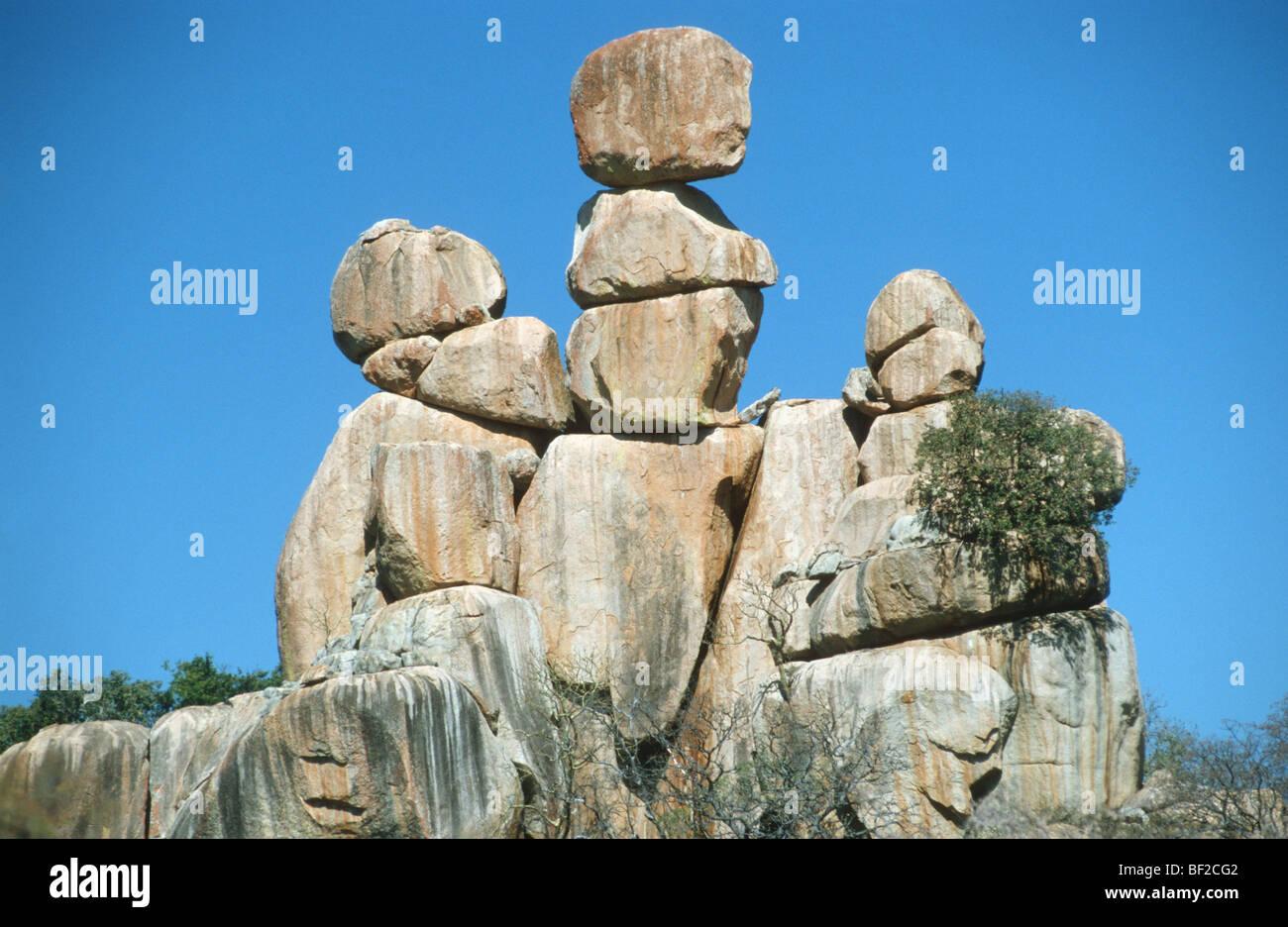 Rocce di bilanciamento, Matopos, Zimbabwe Immagini Stock