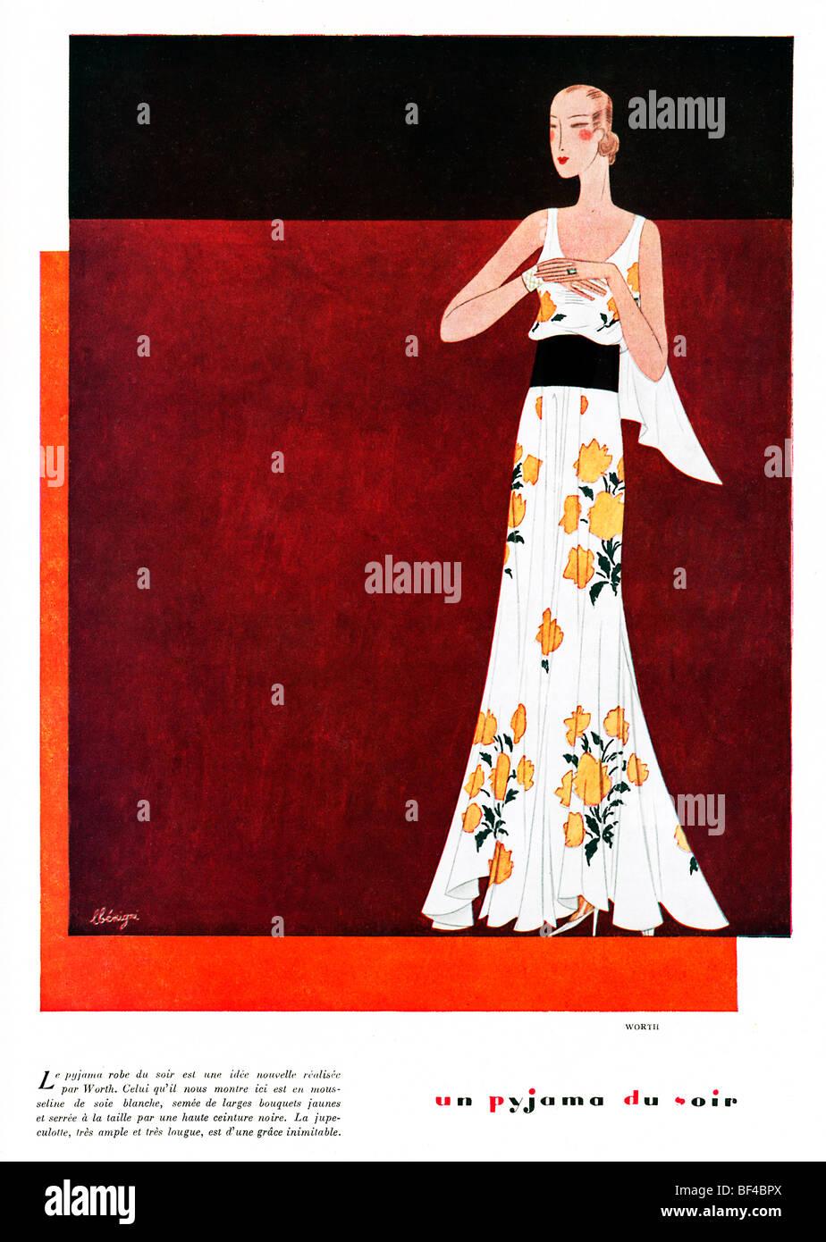 Pigiama du Soir, 1930 francese rivista di moda illustrazione, una nuova idea per un elegante abito da sera dalla Immagini Stock