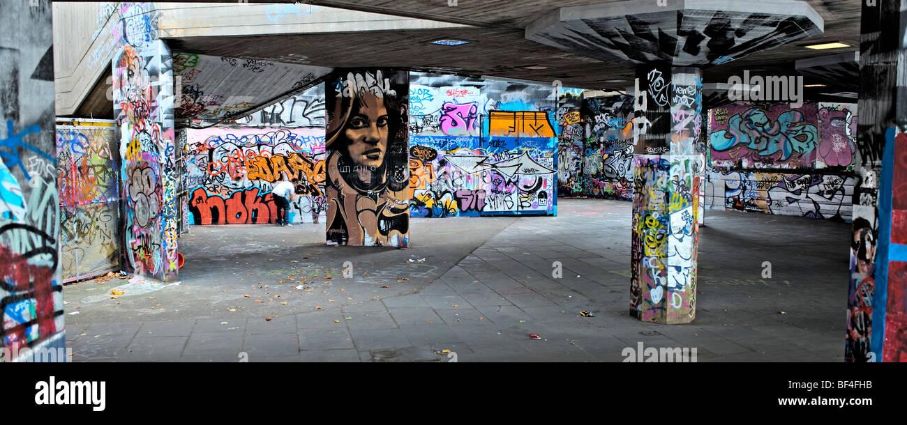 Graffiti, London Southbank Immagini Stock