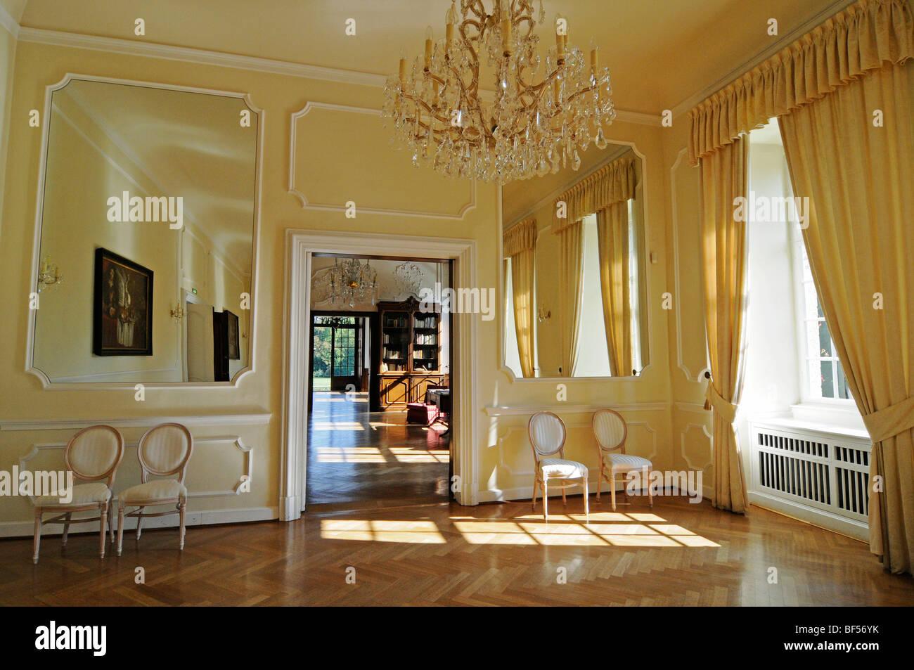 Sala banchetti, lounge, arredamento, design, Schloss Dyck, moated il castello barocco, museo, Juechen, Basso Reno, Immagini Stock