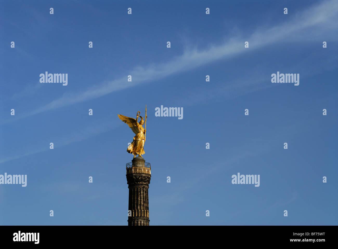 Berlino. Germania. Statua di Victoria Siegessaule Colonna della Vittoria. Immagini Stock