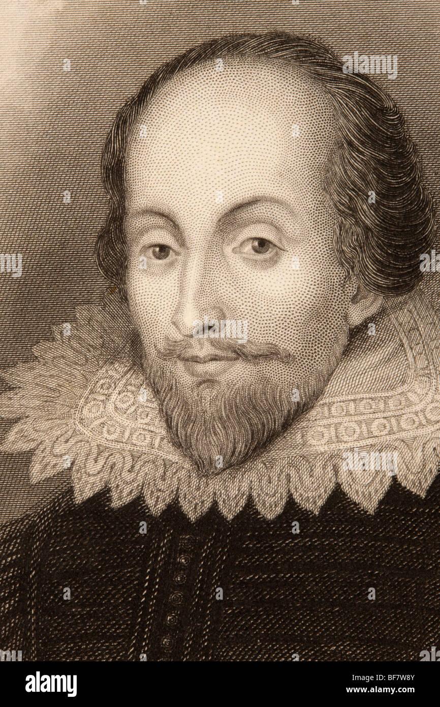 William Shakespeare, 1564 a 1616. Poeta inglese, drammaturgo, drammaturgo e attore. Foto Stock