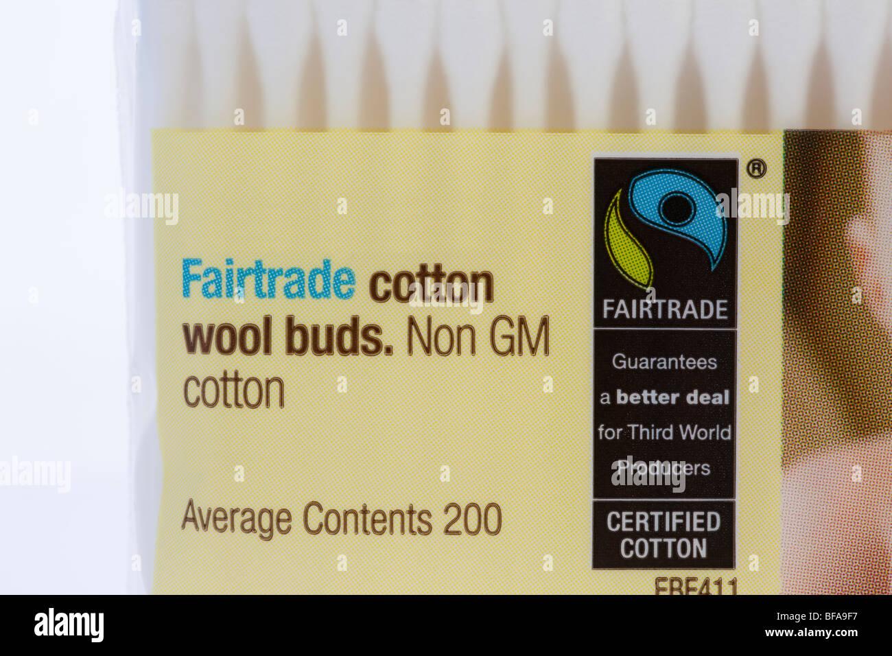 La Gran Bretagna UK Europa. Pacchetto di Fairtrade lana cotone gemme realizzato da non-GM in cotone e con il commercio Immagini Stock