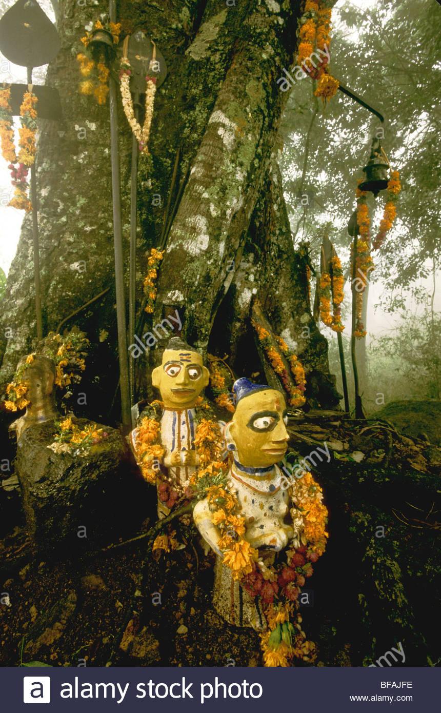 Idoli tribali ornata al sito sacro nella foresta, Anamalai Wildlife Sanctuary, i Ghati Occidentali, India Immagini Stock