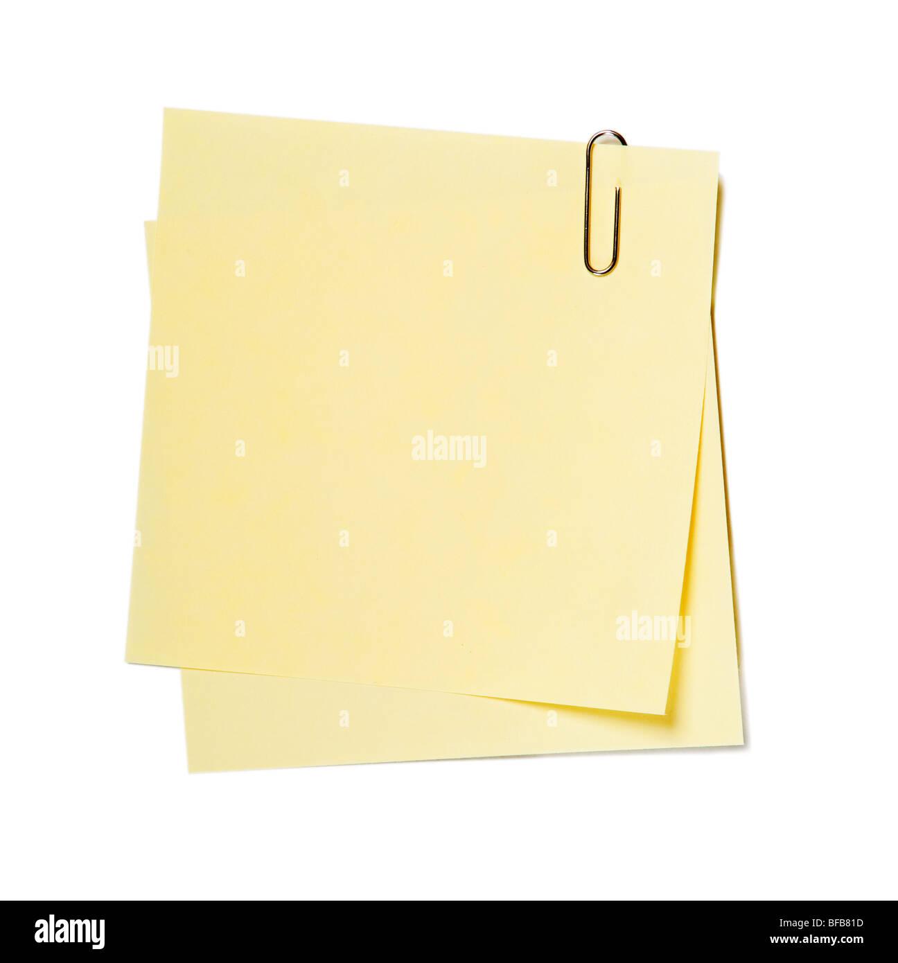 Note , adesivi con graffa isolato su bianco Immagini Stock