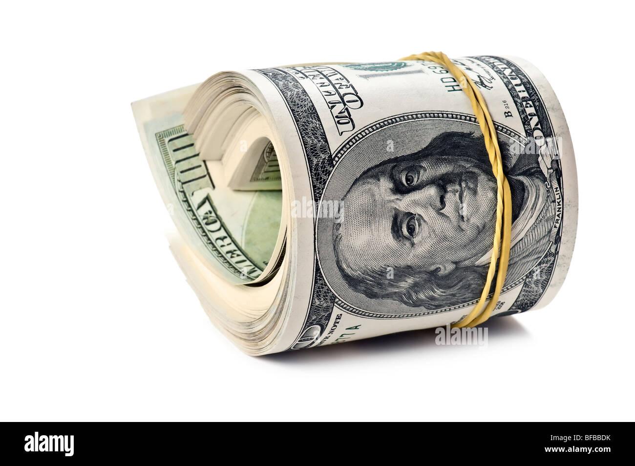 Rotolo di denaro isolato su sfondo bianco Immagini Stock