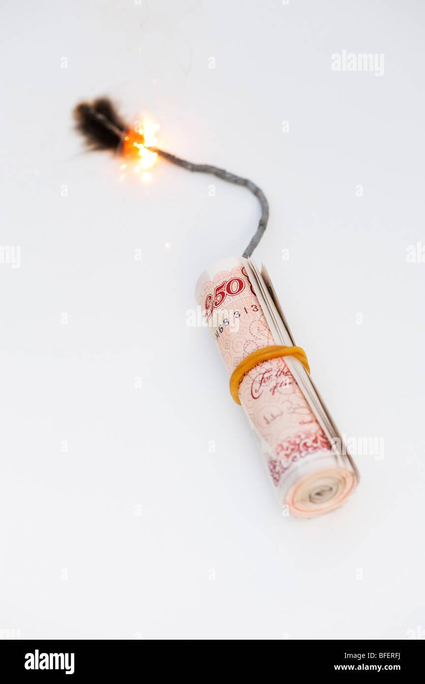 Esplosione di concetto di denaro Immagini Stock
