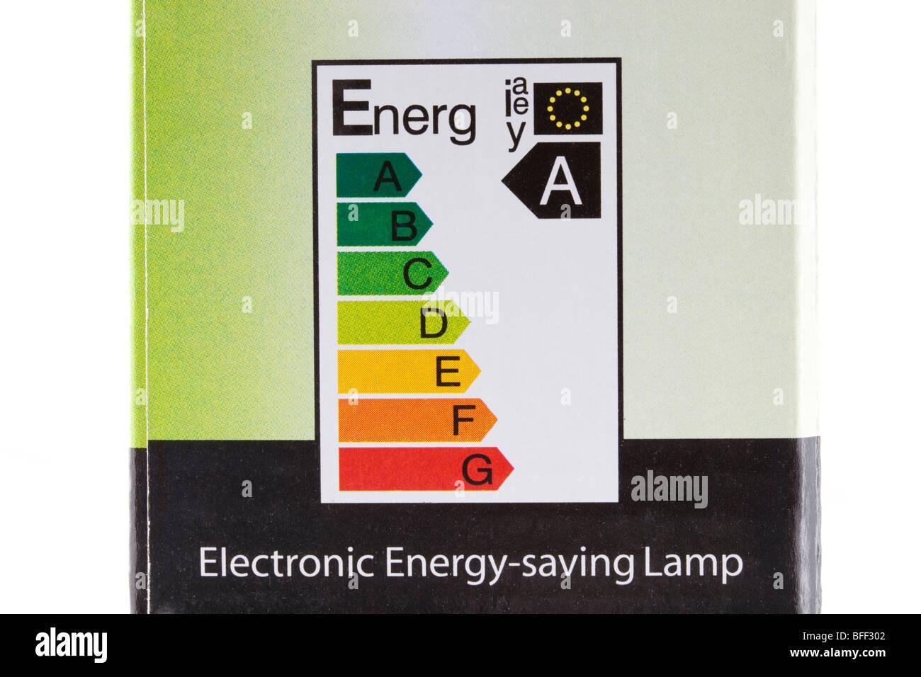 Ue energia elettrica etichetta sulla bassa energia lampadina luce box che mostra la più alta energia efficienza Immagini Stock