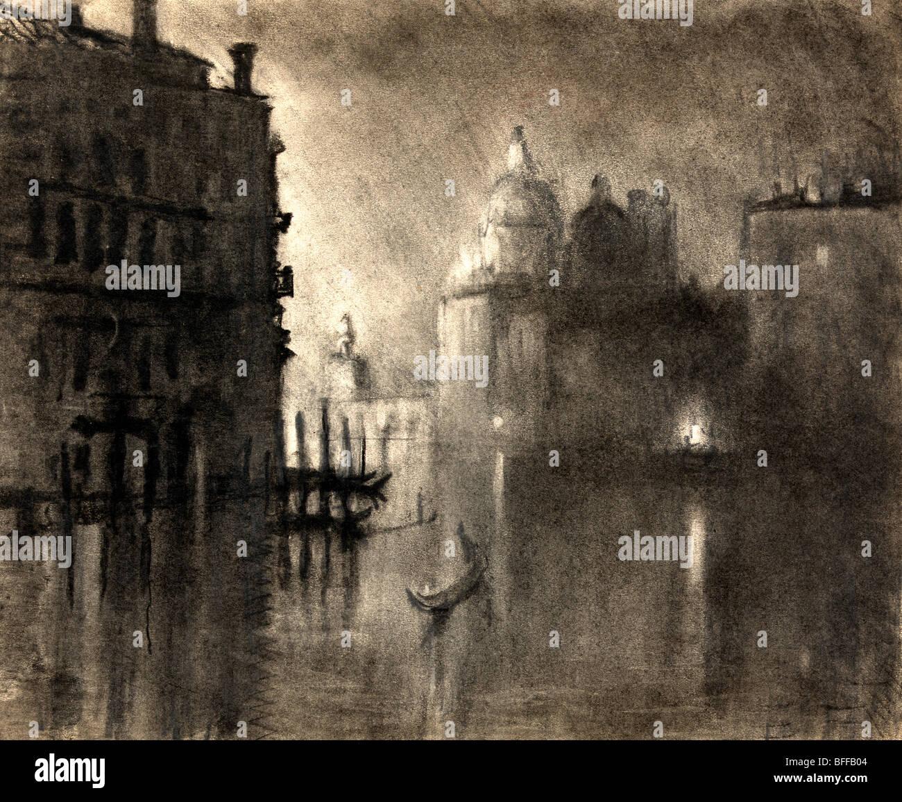 La salutiamo da Grand Canal, Venezia - carboncino e pastello, circa 1905 Immagini Stock