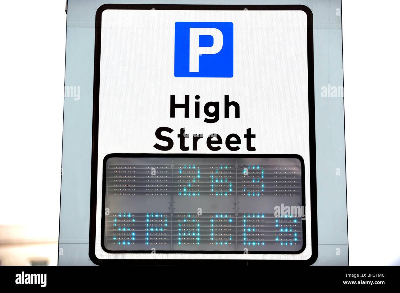 Generic high street simbolo di parcheggio Immagini Stock