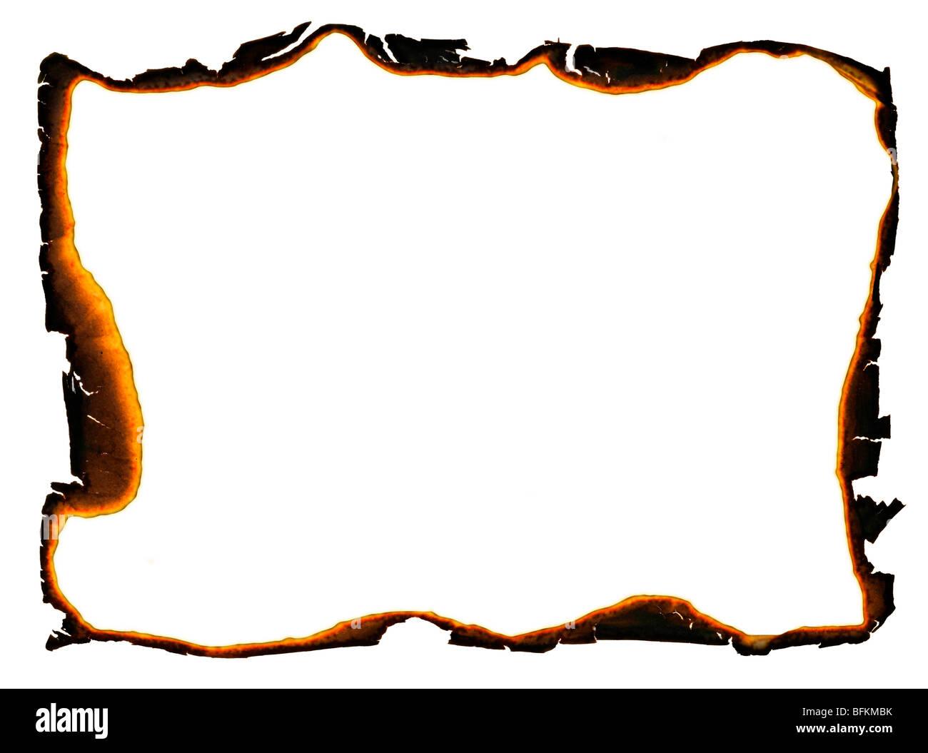 Telaio di grunge con carbonizzati e i bordi frastagliati Immagini Stock